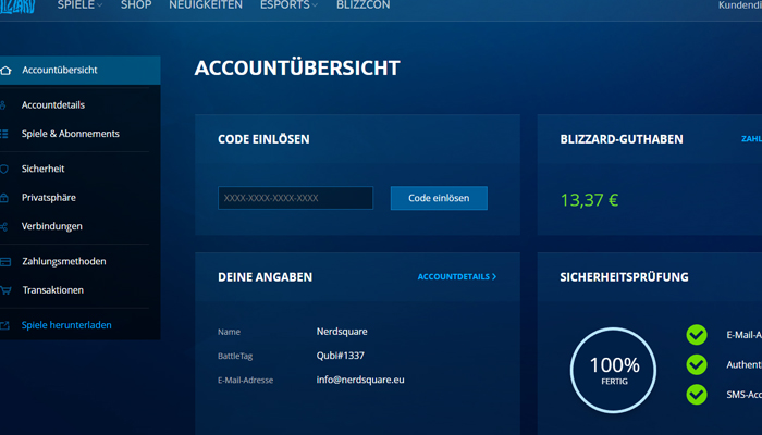 Battle,net Accountverwaltung